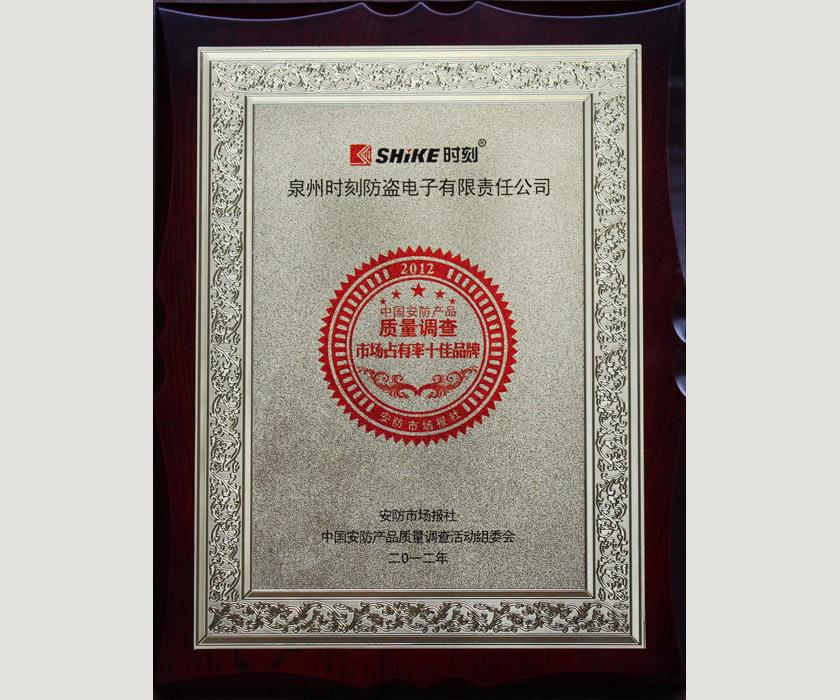 2012质量调查市场占有率十佳品牌