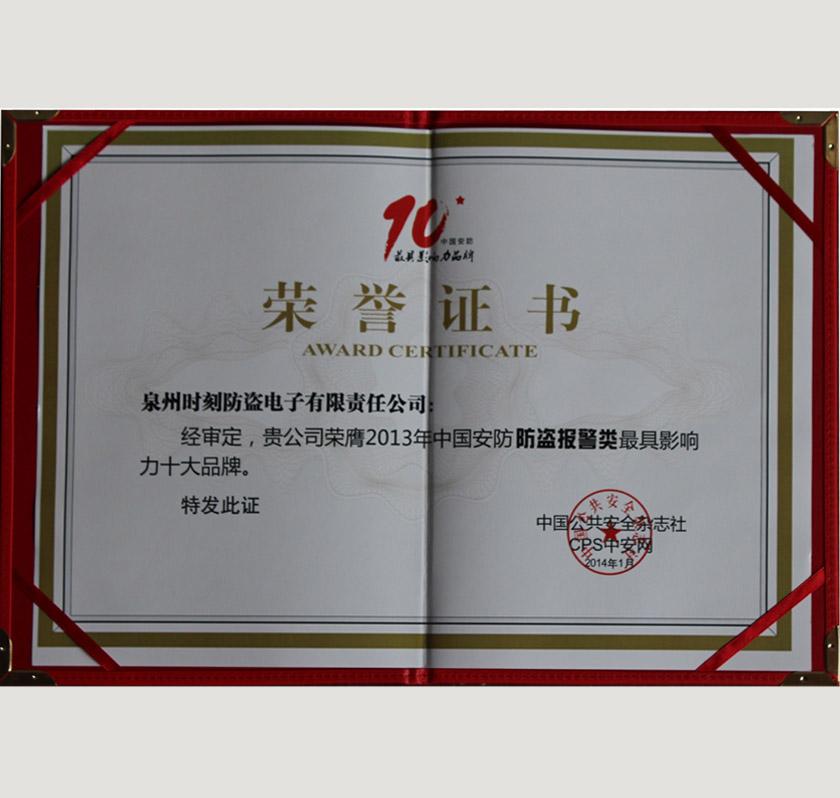 具影响力十大品牌证书